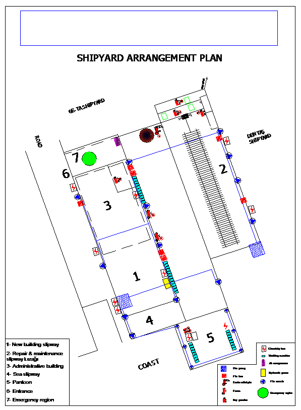 The arrangement plan of the shipyard is given at the picture below